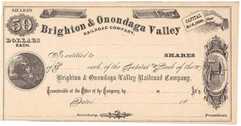 Brighton & Onondaga Valley Railroad Company - 1800s