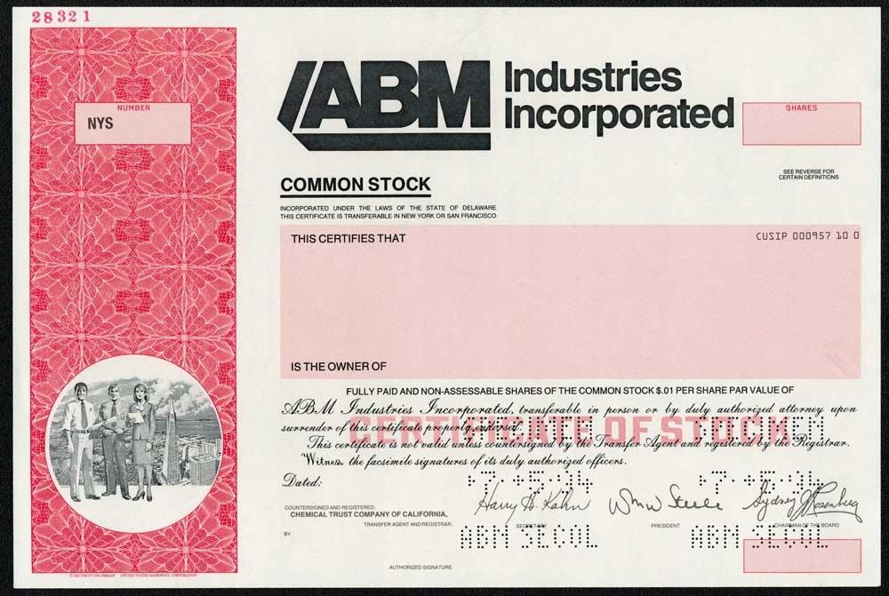 Abm Industries Specimen Stock Certificate