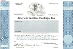 American Medical Holdings Specimen Stock Certificate