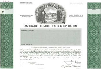Associated Estates Realty Corp Specimen Stock Certificate