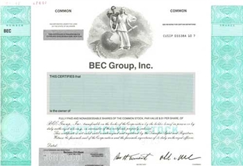 BEC Group Specimen Stock Certificate