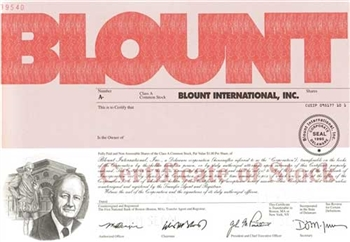 Blount International Specimen Stock Certificate