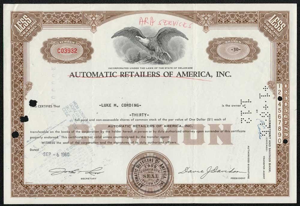 Aramark Corporation stock certificate /> ARA Services