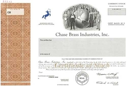 Chase Brass Industries Specimen Stock Certificate