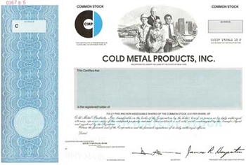 Cold Metal Products Specimen Stock Certificate