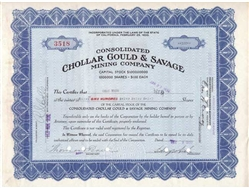 Consolidated Chollar Gould & Savage Mining Co - 1930s