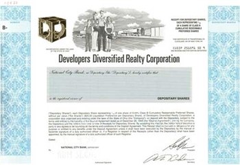 Developers Diversified Realty Corp Specimen Stock Certificate