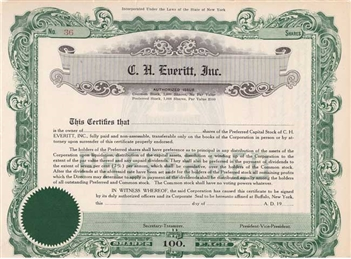 C.H. Everitt, Inc. Stock Certificate