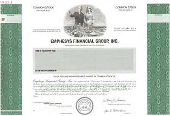 Emphesys Financial Group Specimen Stock Certificate