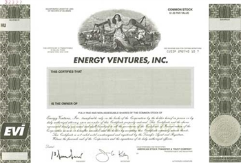 Energy Ventures Inc Specimen Stock Certificate