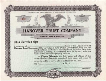 Hanover Trust Company - Unissued