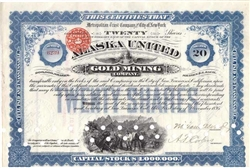 Alaska United Gold Mining Co Stock Certificate - 1890s