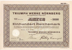 Triump Motorcycle Stock Certificate - 1933