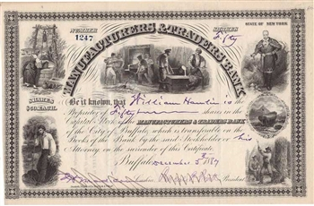 1887 Manufacturers & Traders Bank Stock Certificate