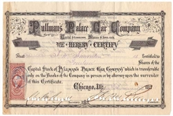 Pullman's Palace Car Company Signed by George Pullman - 1870