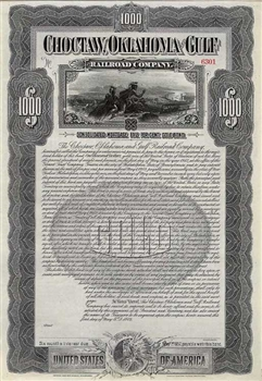 Choctaw, Oklahoma and Gulf Railroad Co Bond - 1902