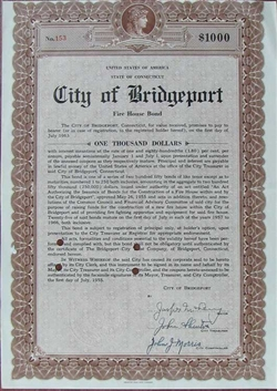 City of Bridgeport Fire House Bond - Signed by Jasper McLevy