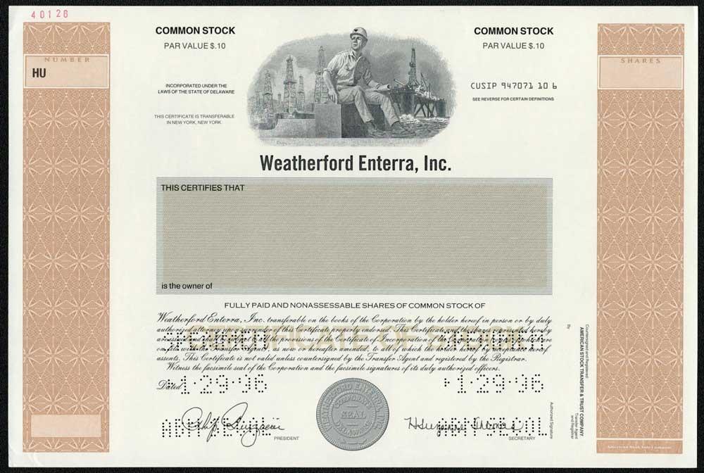 Weatherford Enterra Inc Specimen Stock Certificate