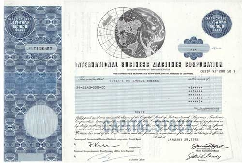 International Business Machines (IBM) Stock Certificate