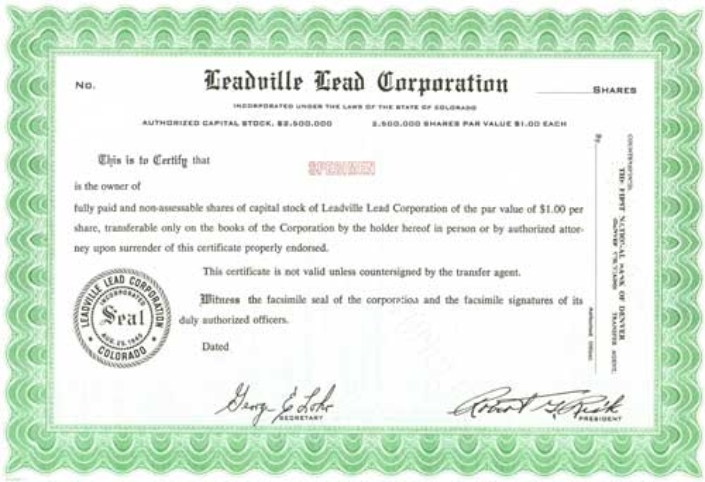 Leadville Lead Specimen Certificate – Specimen Share Certificate