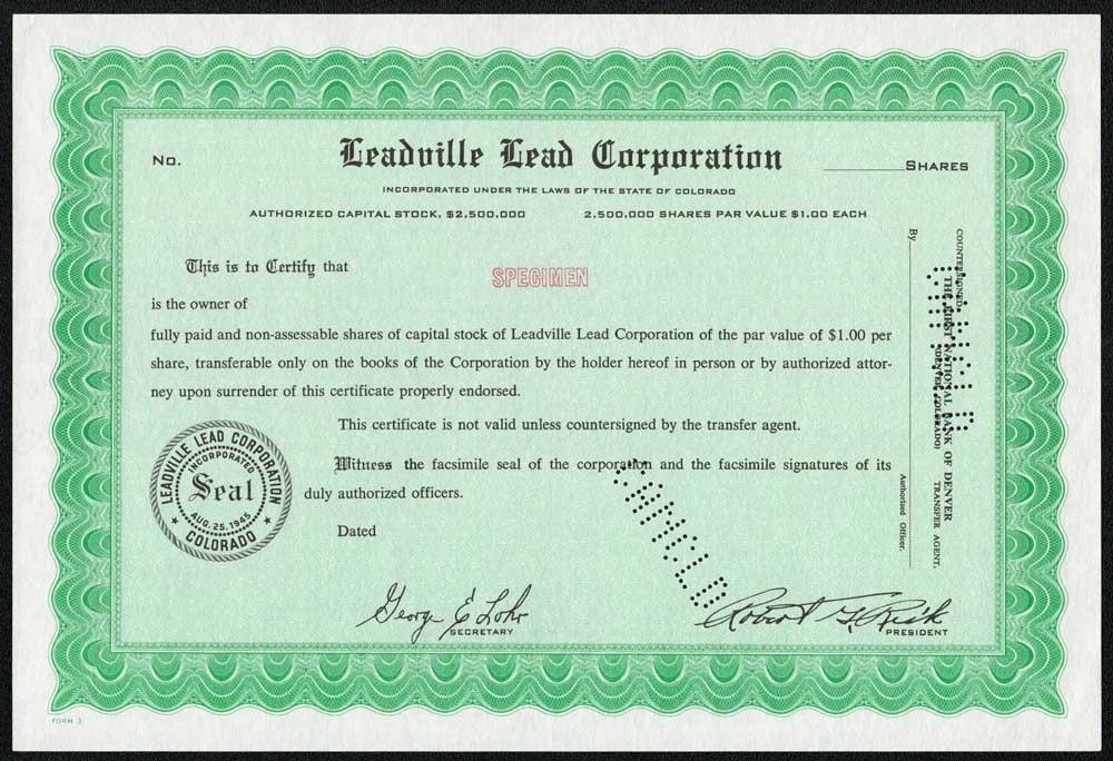 Joseph Lead Company St Stock Certificate