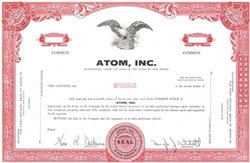 Atom, Inc. Specimen Stock Certificate - Red