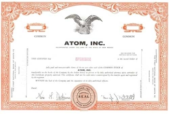 Atom, Inc. Specimen Stock Certificate - Orange