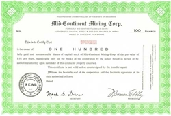 Mid-Continent Mining Corp. Specimen Stock Certificate