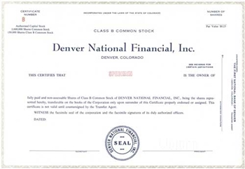 Denver National Financial, Inc. Specimen Stock Certificate - Grey