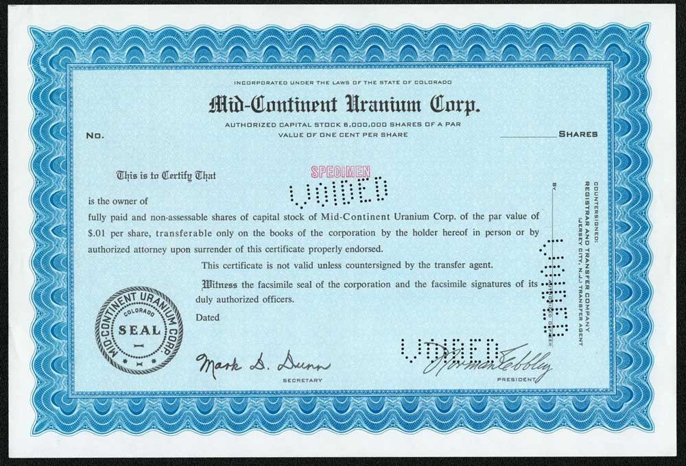 Mid Continent Uranium Specimen Certificate Blue – Specimen Share Certificate