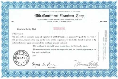 Mid continent uranium specimen stock certificate blue for Volusion templates for sale