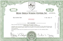 Medic-Shield Nursing Centers, Inc. Specimen Stock Certificate