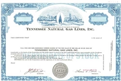 Tennessee Natural Gas Lines, Inc. Specimen Stock Certificate