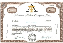 American Medical Enterprises, Inc.  Specimen Stock Certificate