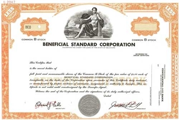 Beneficial Standard Corporation Specimen Stock Certificate