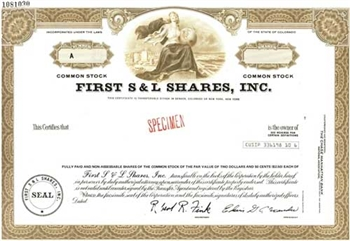 First S&L Shares, Inc. Specimen Stock Certificate