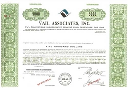 Vail Associates, Inc. Specimen Stock Certificate - Green