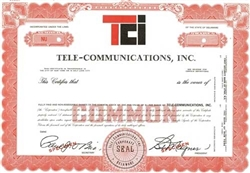 Tele-Communications, Inc. (TCI) Specimen Stock Certificate - Red