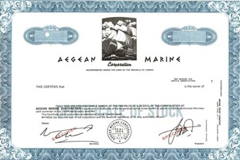 Aegean Marine Corporation Specimen Stock Certificate - Blue