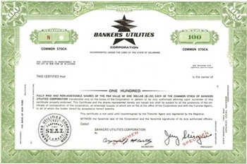 Bankers Utilities Corporation Specimen Stock Certificate