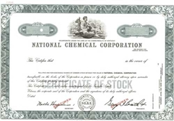 National Chemical Corporation Specimen Stock Certificate