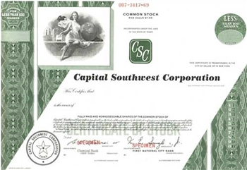 Capital Southwest Corporation Specimen Stock Certificate