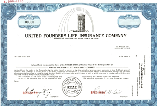 United Founders Life Insurance co Specimen Stock Certificate
