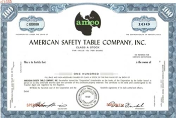 American Safety Table Company, Inc. Specimen Stock Certificate