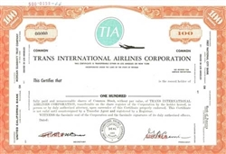 Trans International Airlines Corporation Specimen Stock Certificate