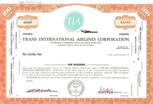 Trans International Airlines Specimen Certificate – Specimen Share Certificate