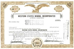 Western State Mining, Inc.  Specimen Stock Certificate -Olive