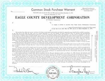 Eagle County Developement Corporation Specimen Stock Certificate