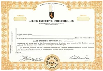 Allied Executive Industries, Inc. Specimen Stock Certificate