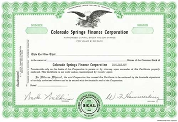 Colorado Springs Finance Corporation Specimen Stock Certificate